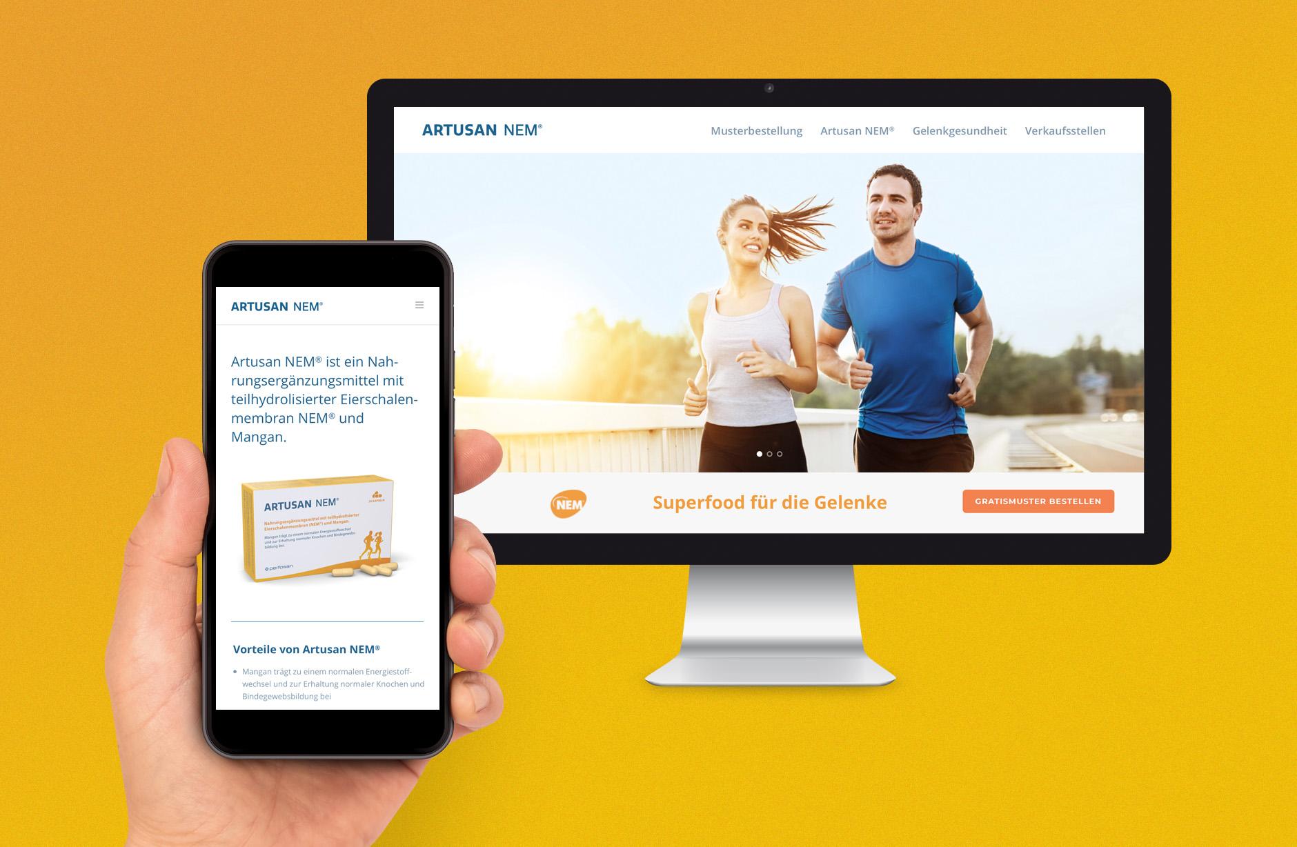 Artusan NEM –Webseite – Newsign Grafik