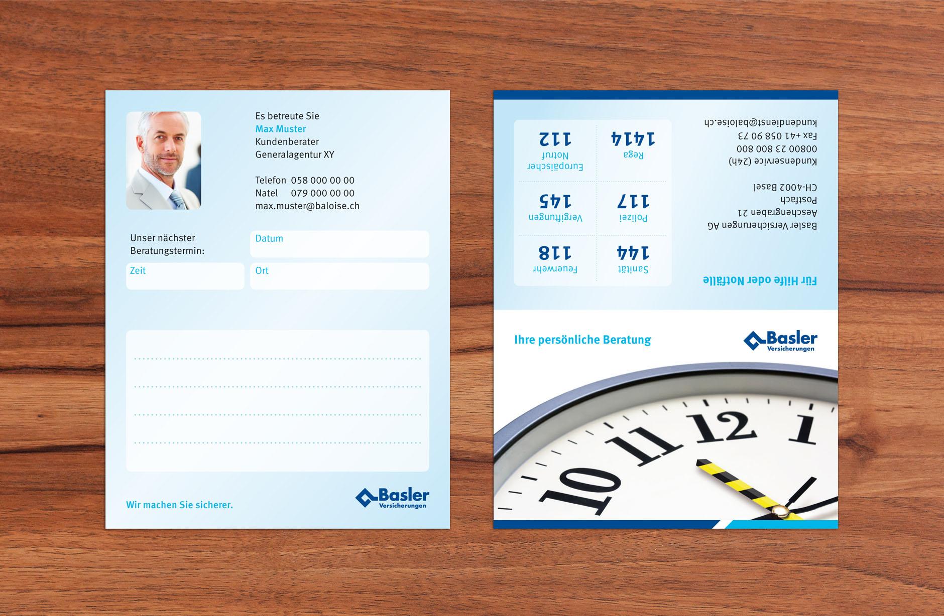 Basler Versicherungen Visitenkarte