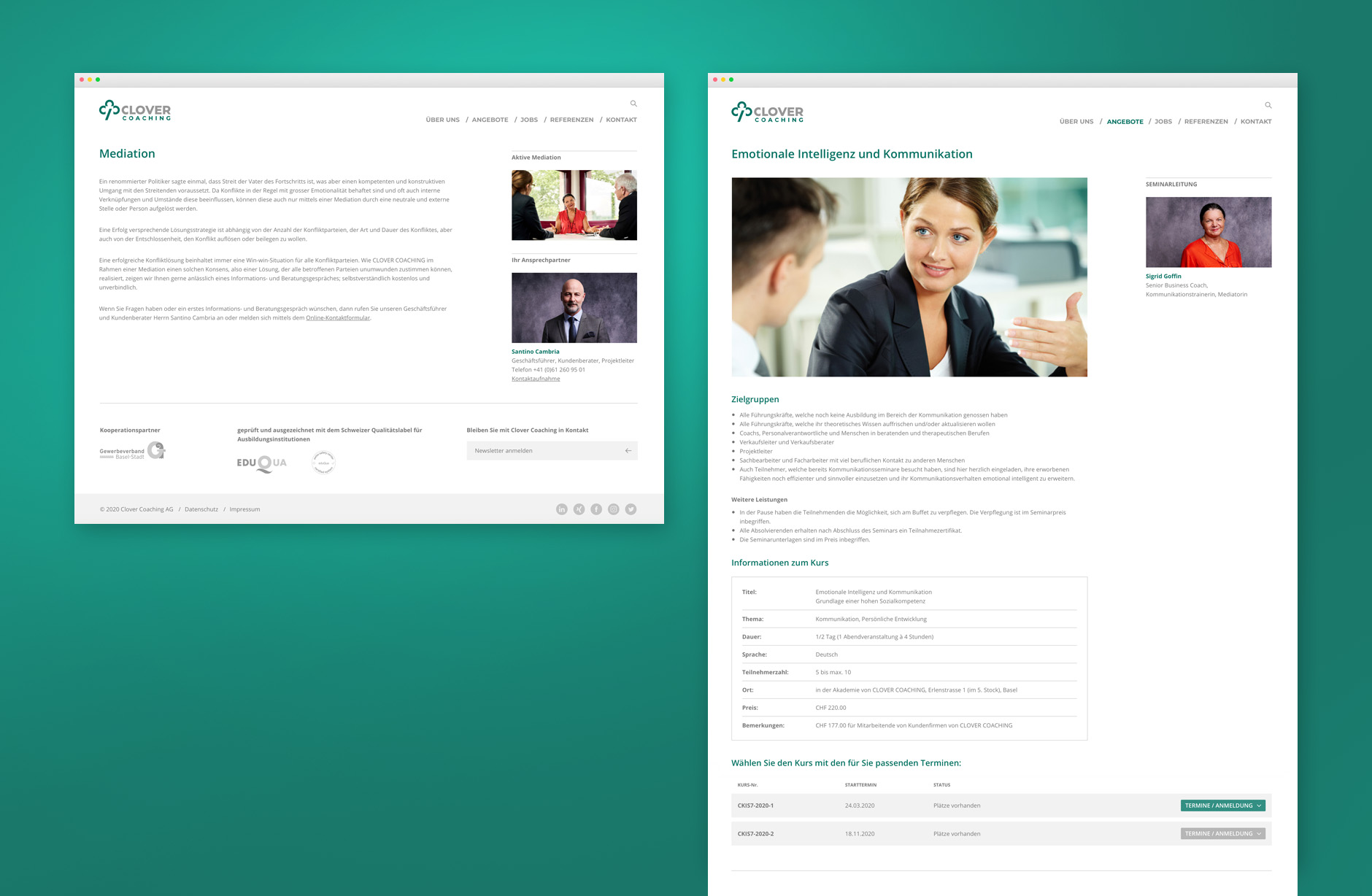 Clover Webseite – Newsign Grafik
