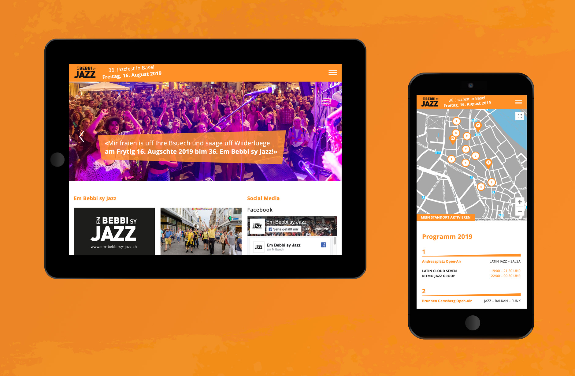 Em Bebbi sy Jazz Webseite – Newsign Grafik