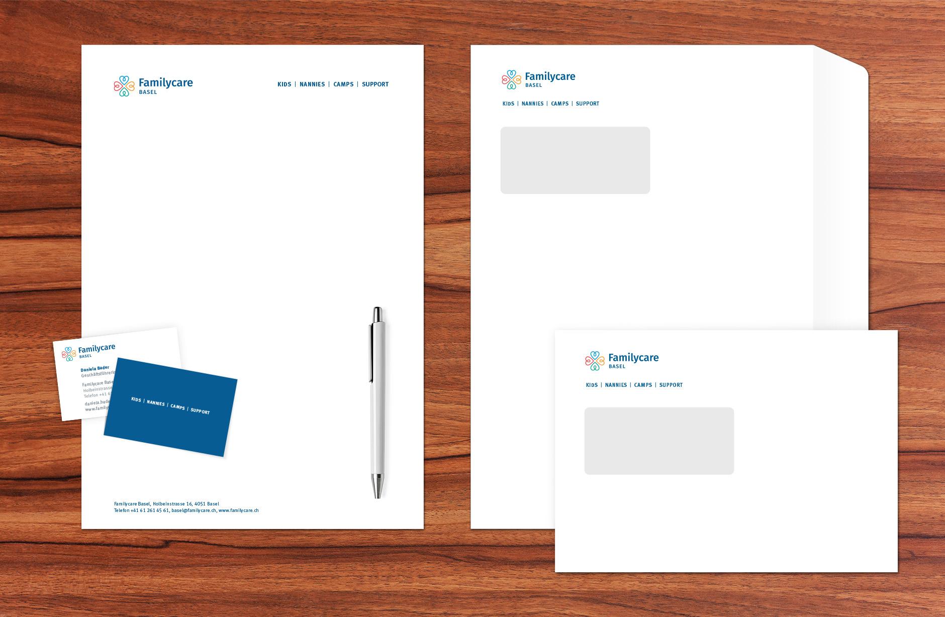Familycare Basel Briefschaften – Newsign Grafik