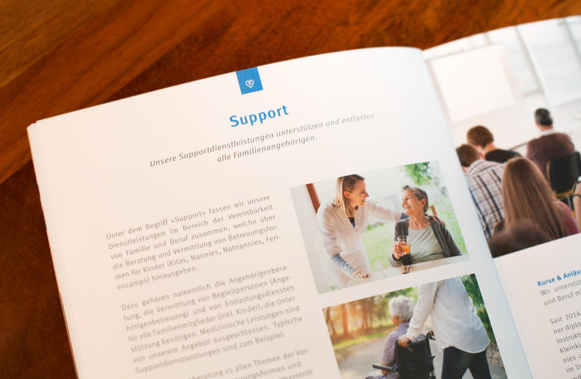 Familycare Basel Unternehmensbroschüre – Newsign Grafik