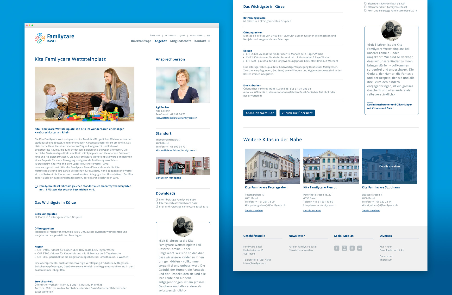 Familycare Basel Webseite