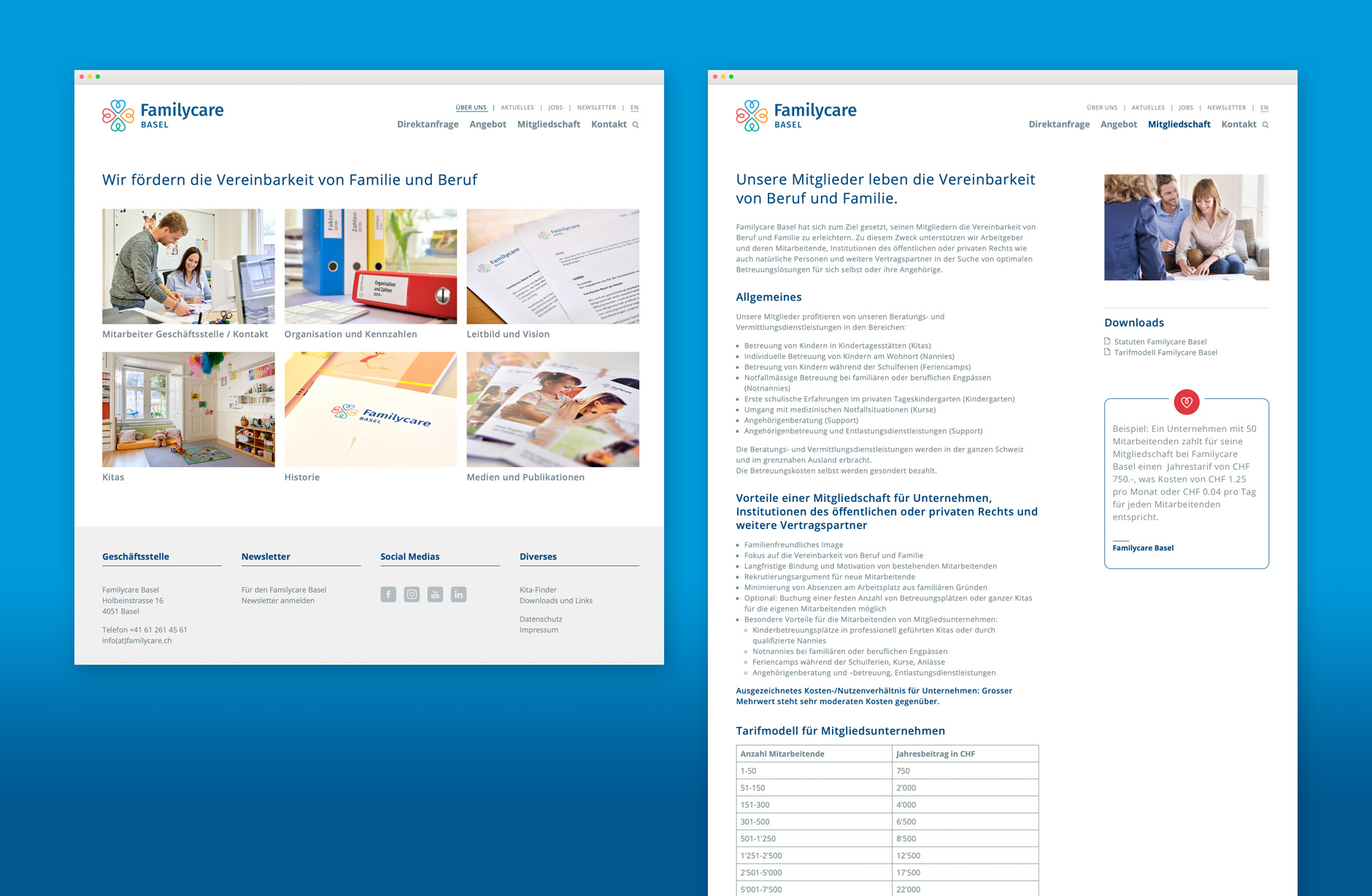 Familycare Basel Webseite