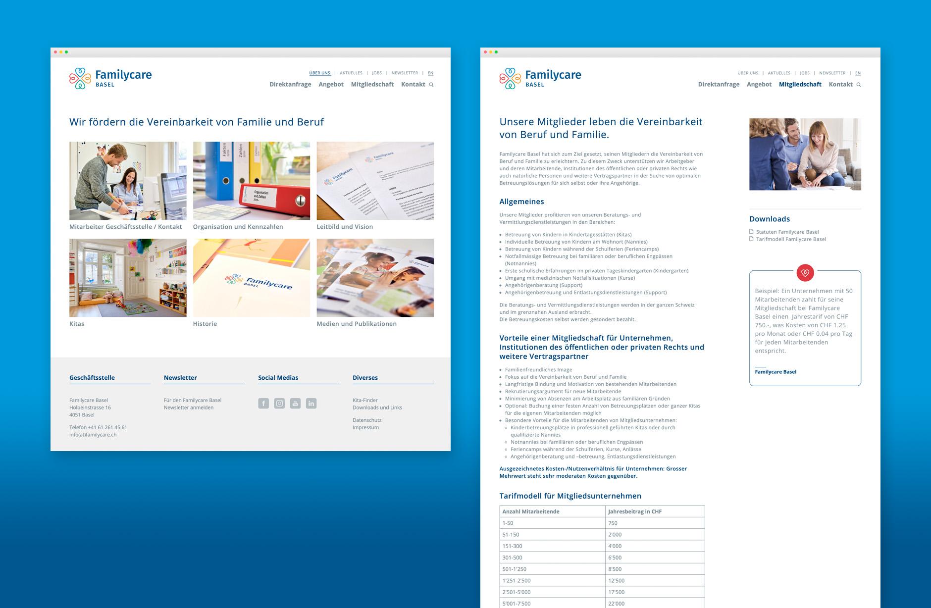 Familycare Basel Webseite – Newsign Grafik