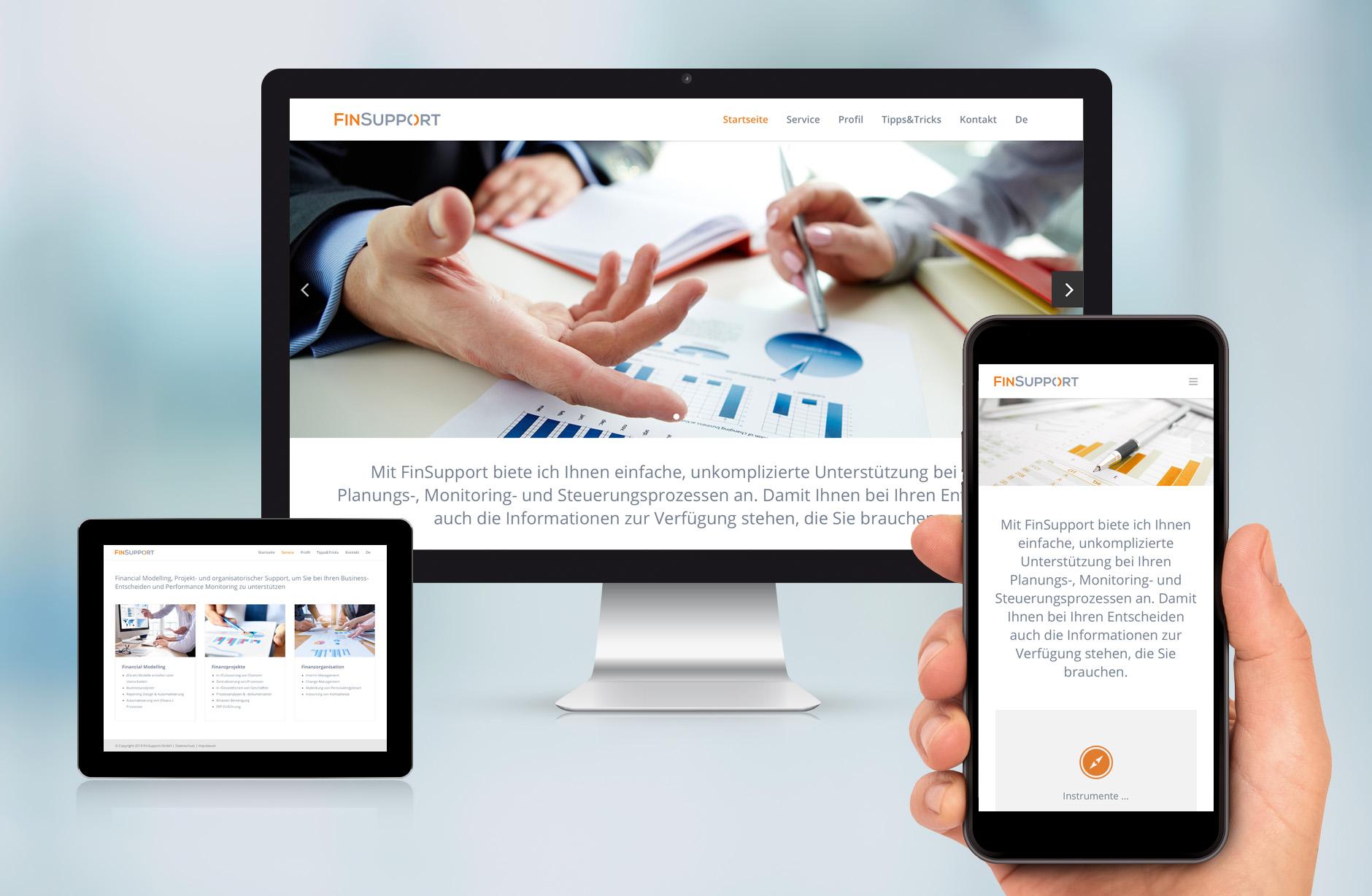 Finsupport Webseite – Newsign Grafik