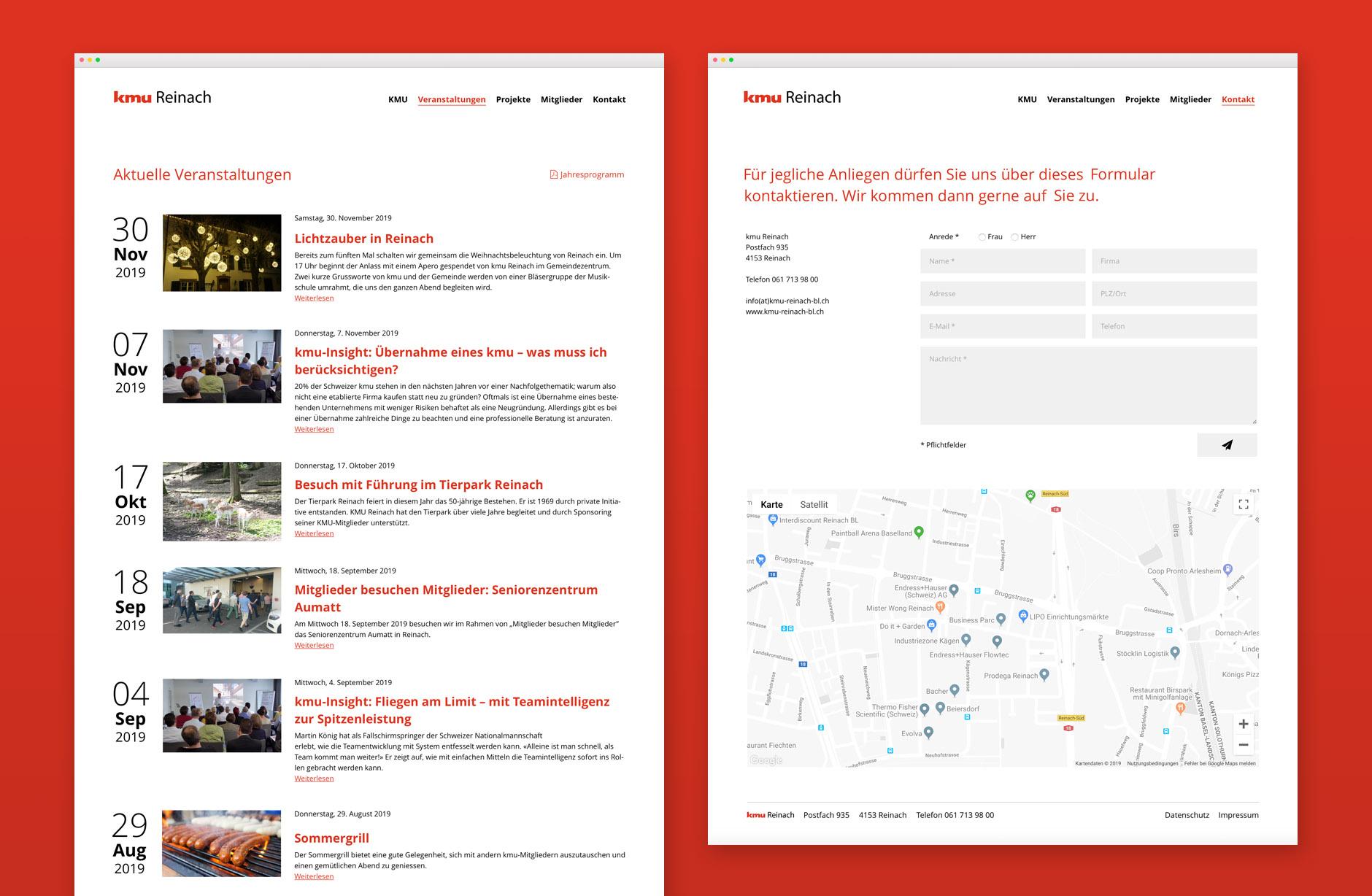 kmu Reinach Webseite – Newsign Grafik