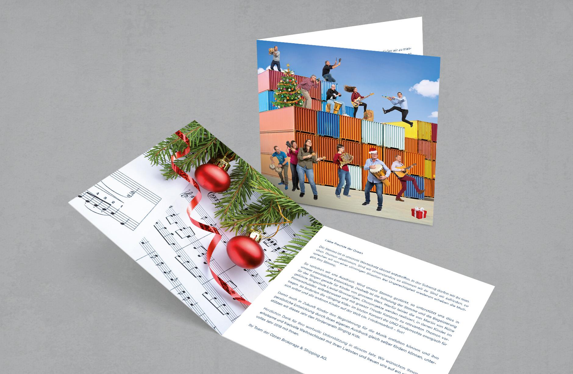 Ozean Brokerage & Shipping –Weihnachtskarte – Newsign Grafik