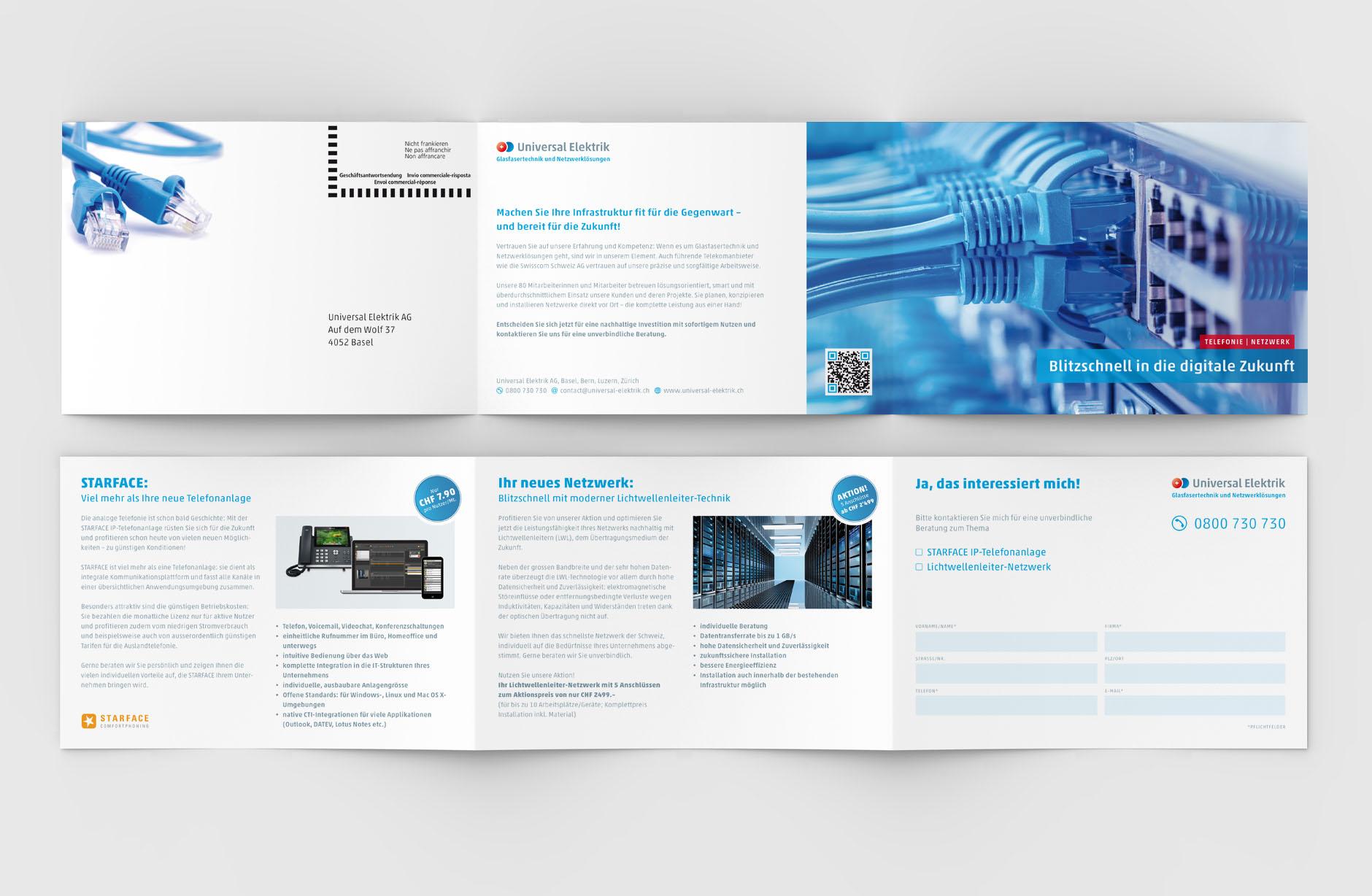 Universal Elektrik Faltprospekt – Newsign Grafik